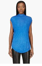 SILENT BY DAMIR DOMA Blue LAYERED cut-out TALYA TOP for women