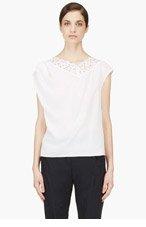 NINA RICCI Ivory Silk Crepe & Lace blouse for women