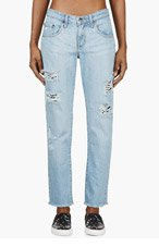 NOBODY Blue Distressed Beau Jeans for women