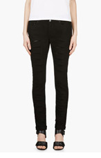 MCQ ALEXANDER MCQUEEN Black Slim Fit Slashed Leg Jeans for women