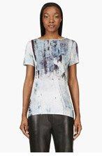 HELMUT LANG Blue Jersey Cowl Back T-Shirt for women