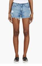 NOBODY SSENSE EXCLUSIVE Blue Distressed Denim High Boy Shorts for women