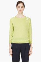NINA RICCI Chartreuse Crewneck Lace Insert Sweater for women