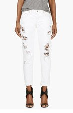 NOBODY White Distressed Beau Jeans for women