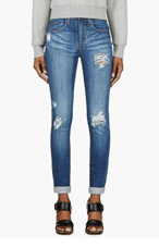 NOBODY Blue Distressed Skinny Cult Jeans for women