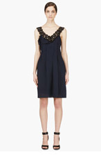 NINA RICCI Navy crepe & lace Pleated dress for women
