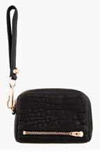 ALEXANDER WANG Black Grained Leather Fumo Wristlet Wallet for women