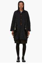 COMME DES GARÇONS Black Ruffle Cutaway Smock Coat for women