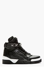 GIVENCHY Black Leather Star Tyson High-Top Sneakers for men