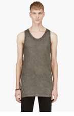 SILENT BY DAMIR DOMA Grey Overlong Mottled Tank Top for men