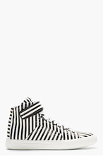 PIERRE HARDY Black & White Stripe High-Tops for men