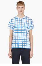 CARVEN White & Blue Windowpane Print T-shirt for men
