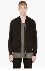 SILENT BY DAMIR DOMA Black Mesh Back Bomber Jacket for men