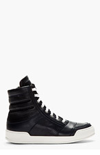 BALMAIN Navy Perforated High-Top Sneakers for men