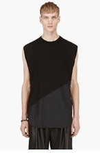 DAMIR DOMA Black Sleeveless Bias Cut T-Shirt for men
