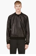 DSQUARED2 Black Leather Crewneck for men