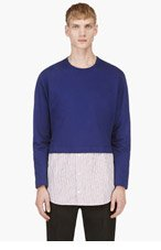 CARVEN Indigo layered sweatshirt for men