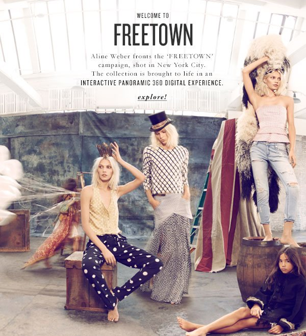 WELCOME TO FREETOWN - Aline Weber fronts the 'FREETOWN' campaign, shot in New York City. The collection is brought to life in an INTERACTIVE PANORAMIC 360 DIGITAL EXPERIENCE - explore!