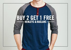 Shop Buy 2 Get 1 Free: Henleys & Raglans