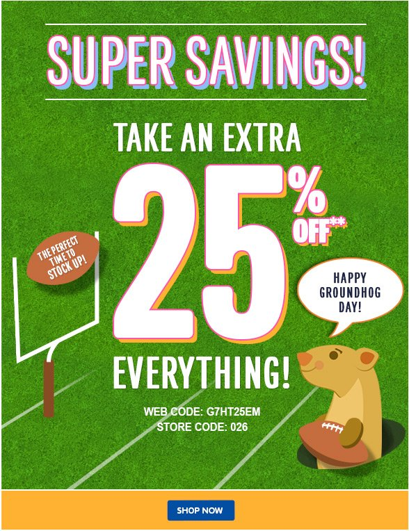 Super Savings - 25% Off Everything!