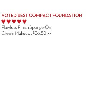 5. VOTED BEST COMPACT FOUNDATION. Flawless Finish Sponge-On Cream Makeup, $36.50.