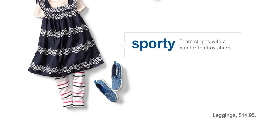 sporty | Team stripes with a cap for tomboy charm.