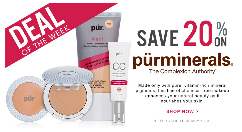 Deal of the Week: Save 20% on Pur MineralsMade only with pure, vitamin-rich mineral pigments, this line of chemical-free makeup enhances your natural beauty as it nourishes your skin.Offer valid February 3 – 10.Shop Now >>
