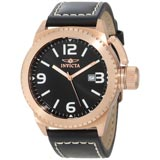 Invicta 1112 Mens Corduba Rose Gold Plated Steel Black Leather Strap Watch