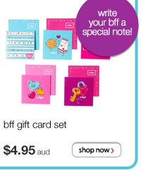 bff gift card set - $4.95 aud - write your bff a special note!