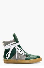 KRISVANASSCHE Green Leather Overlong Laces High-Top Sneakers for men