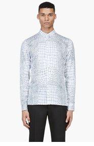 KRISVANASSCHE SSENSE EXCLUSIVE White All-Over Crocodile Print Shirt for men