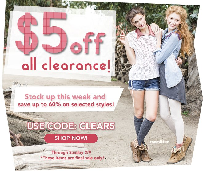 $5 off all clearance!