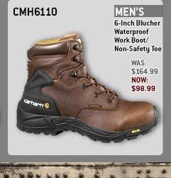 MEN'S 6-INCH BLUCHER WATERPROOF WORK BOOT/NON-SAFETY TOE
