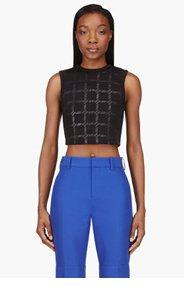 T BY ALEXANDER WANG Black Neoprene Grid print Cropped Tank top for women