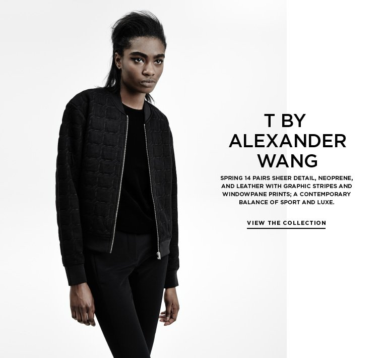 Sport meets luxe: T by Alexander Wang Spring 14 pairs sheer detail, neoprene, and leather with graphic stripes and windowpane prints; a contemporary balance of sport and luxe.
