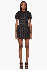 T BY ALEXANDER WANG Black Neoprene Grid Print Dress for women