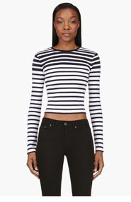 T BY ALEXANDER WANG Navy & white striped Cotton Engineered Stripe t-shirt for women