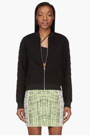 T BY ALEXANDER WANG Black Neoprene Jacquard Grid Bomber Jacket for women