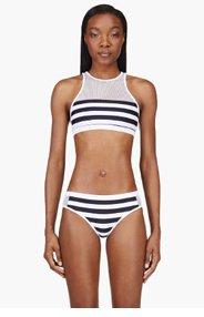 T BY ALEXANDER WANG White Striped Mesh Racerback Bikini Top for women