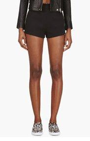 T BY ALEXANDER WANG Black Neoprene Minimalist Shorts for women