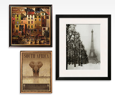 MEDITERRANEAN GOLD By: Michael O'Toole; SOUTH AFRICA BY: Ben James; THE EIFFEL TOWER Framed Art