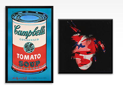 Campbell's Soup Can 1965 (Pink and Red) and Self-Portrait c1986 (red white and blue camo) By: Andy Warhol