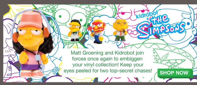 Matt Groening and Kidrobot join forces once again to embiggen your vinyl collection!  Keep your eyes peeled for two-secret chases!