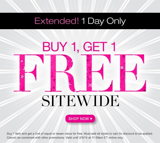 Extended 1 Day: Buy 1, Get 1 FREE Sitewide