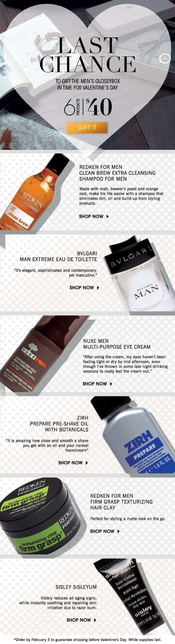 >> Last Chance to gift the Men's GLOSSYBOX in time for Valentine's Day