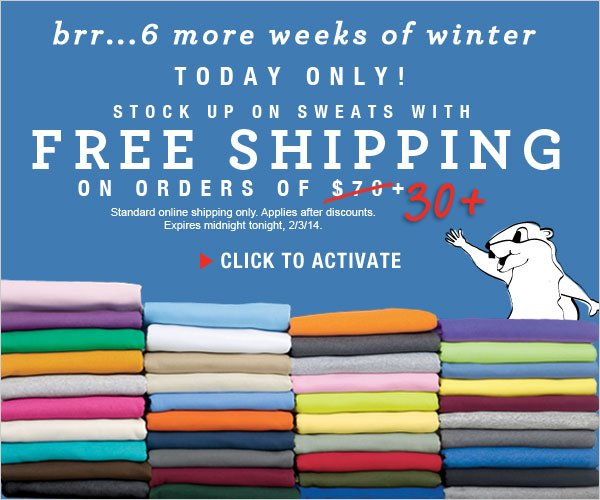 Today Only: Free Shipping on orders $30 or more