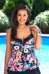 Women's Plus Size Swimwear - 24th & Ocean Separates Frenchie Bandeau Tankini Top