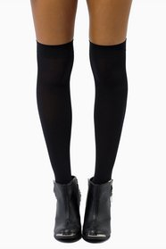 Opaque Nylon Thigh Highs 11