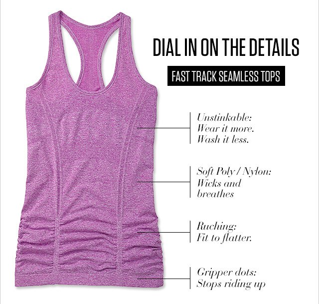 DIAL IN ON THE DETAILS   FAST TRACK SEAMLESS TOPS