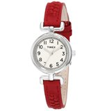 Timex T2N661 Women's Weekender White Dial Petite Casual Red Woven Leather Strap Stainless Steel Watch